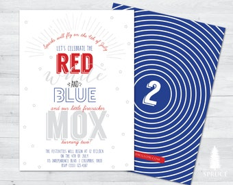 4th of july birthday invitation, fourth of july birthday invitation, red white and two birthday invitation, red, white, blue birthday invite