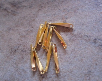 10 Links,gold-plated brass, 10x1.5mm twisted bar.  - JD199