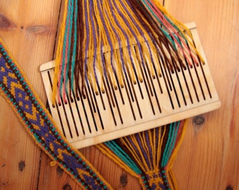 double slotted rigid heddle, 9 pattern strings,loom, backstrap rigid heddle,sami band weaving,band weaving,belt weaving,inkle loom,tape loom