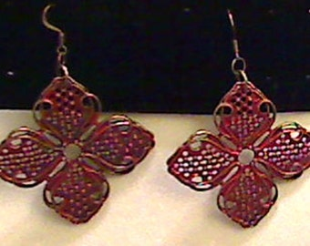 Orange and Metal Flower Earrings