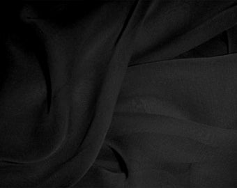 """Pure Silk Chiffon in BLACK fabric 138 cm (54"""") wide medium weight available by the metre"""