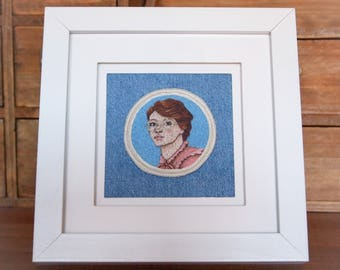 Barb Holland Framed Hand Embroidered Patch Art