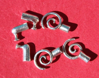 MADE IN EUROPE 4 toggle clasps, swirl clasp, spiral clasp, 2mm cord clasp,(X5453ABAS) qty4