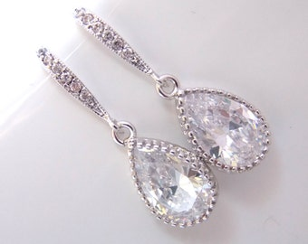 Wedding Jewelry, Glass Earrings, Crystal Earrings, Clear, Silver, Bridesmaid Earrings, Bride Earrings, Bridal Earrings, Bridesmaid Gifts