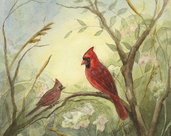 SPECIAL.  Cardinal Fields - Original Watercolor on Aquaboard, 8 x 10 Inches