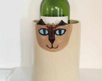 Cat pottery vase: Siamese feline Cat Lover Gift for Mom decor handmade ceramic stoneware ready to ship