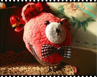 Pink Teddy Bear coin purse   /// Coin Wallet clutch / Pouch coin bag / Kiss lock frame purse bag-GinaHandMade