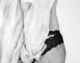 """Limited Edition Fine Art Charcoal Drawing Prints - """"Boudoir 5"""""""