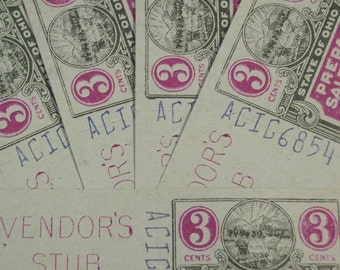 Vintage Ohio State Tax Coupons (3 Cents)