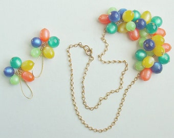 Lucite Moonglow Necklace and Earrings Set