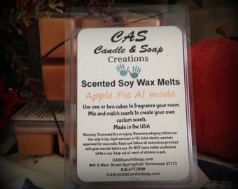 100% Soy Wax Melts Tarts Scented Cubes Apple Pie Al mode 2.5oz package