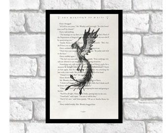HARRY POTTER Fawkes Phoenix Illustration ~ Harry Potter upcycled book print ~ Harry Potter Mythological Phoenix Fan Art