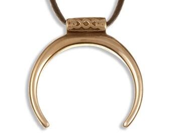 Minotaur pendant – waxed-cotton thong – bronze- Hand Made in UK