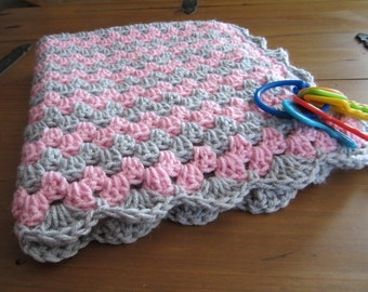 baby girl blanket, crochet granny stripe, crochet blanket, afghan crochet, crocheted blanket, crocheted afghan, pink and grey gray