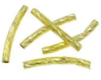30pc gold finish 25x2.5cm long tube beads-9528