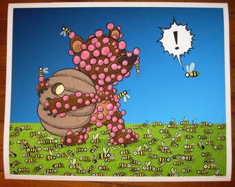 The Thing I Love is the Thing That Kills You 8x10 giclee print Bear vs. Bees