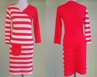 1980s Red & White Striped Knit Dress - Fitted Sweater Dress - 70's 80's