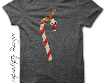 Reindeer Iron on Transfer - Christmas Shirt Design / Christmas Boy Clothing / Home Decor Printable / Cute Kids Clothes / Candy Cane IT60