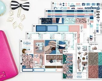 Caffeine Queen Weekly Kit, Vertical, Horizontal, Erin Condren Planner, Recollections, Happy Planner, Planner Stickers, Coffee Girl,