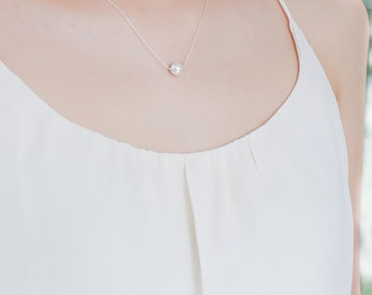 White Silver Pearl Necklace - White Floating Pearl Necklace - Single Pearl Necklace - Bridesmaid Jewelry - Pearls - Pearl Wedding Jewelry