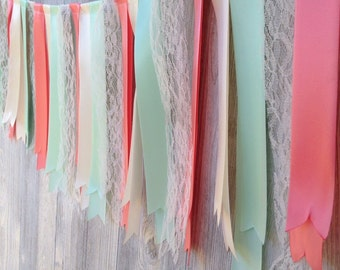Mint & Coral Ribbon Garland, Fabric Garland, Lace Garland, Table  Garland, Wedding Decoration, Birthday Garland