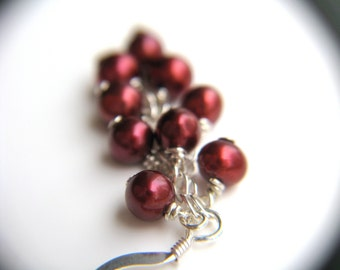 Red Pearl Earrings Dangle . Red Jewelry for Her . Gift Wife Earrings . Long Pearl Wedding Dangle Earrings . Red Cluster Earring