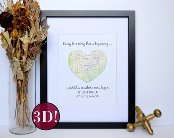 3D Latitude Longitude Coordinates Bridal Shower Gift,  Engagement Gift