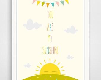You are my Sunshine Wall Art Kids, Nursery Song, Rainbow Print, Baby Nursery Art, Yellow Sunshine Print for kids Room Art