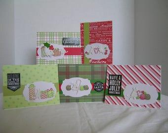 Handmade Christmas Cards, Holiday Greeting Cards, Set of 5 Holiday Cards, Christmas Card Assortment, Mice Theme Christmas Cards