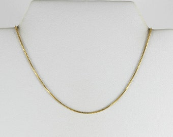14K Yellow Gold Box Chain Necklace 14 1/4 inch .8 mm