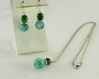 "Jade Ball Earrings and Necklace  18""-21"""