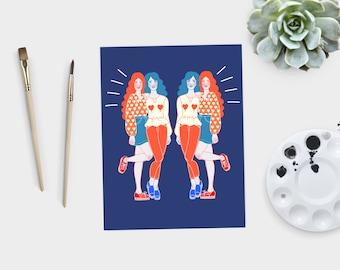 Heart Girls - art print / DIN A4