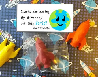 Space party favors,  kids birthday party favors, personalized party favors, rocket ship crayons