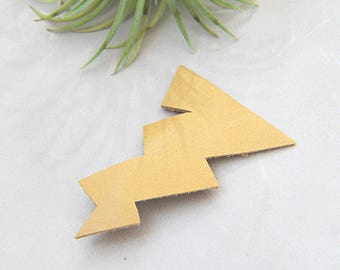 Leather Lightning Bolt Hair Clip Barrette - Yellow