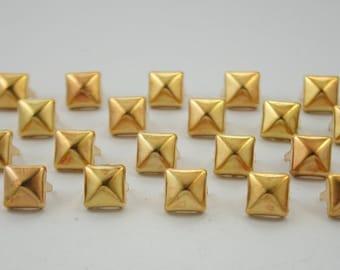100 pcs.Antique Dark Gold Pyramid Studs Decorations Findings 8 mm. KPG8