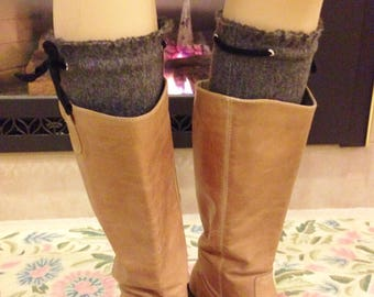 Boot Cuffs Warm Grey  Boot Toppers with Stretch Wool