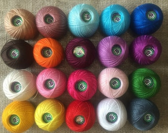 iris 100% Mercerized Cotton Yarn Thread Crochet Embroidering 20 skeins 500g Russia.
