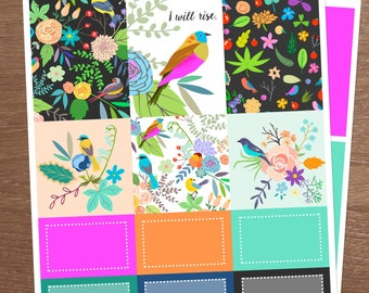 I Will Rise, Mini Kit for use with Erin Condren Vertical LIFEPLANNERS, Planner Stickers, bird stickers, floral stickers, tropical