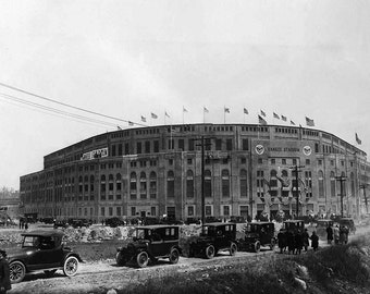 Vintage photo Yankee Stadium New York Yankees old baseball stadium NY Yankees 1920s antique photograph print poster