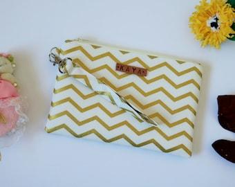 Bridesmaid Gift, Personalized Bridesmaid Clutch, Bridesmaid Wristlet, Zipper Pouch, Chevron Clutch Wristlet Gold Color