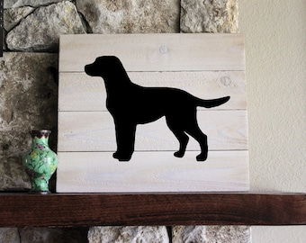 Black Lab Silhouette, White-Washed, Distressed Wood Sign, Hand-painted, Wall Art, Gift, Hand-painted, Add Name, Labrador Retriever, I love