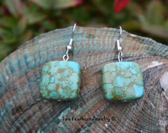 Mosaic Turquoise Earrings - Native American Inspired - Southwestern Style - Turquoise Squares - Gift For Her - Gift Under 15 - Two Feathers