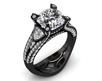 Moissanite Ring Forever One 2.15 Carat Cushion Cut Moissanite And Diamond Engagement Ring In 14k or 18k Black Gold W31MOISR