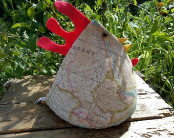 Camille - Cool Poule Doorstop / Bookend. Fabric doorstop in vintage coloured world map