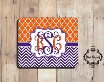 Personalized Mouse Pad, Purple Mouse Pad, Custom Mouse Pad, Chevron Mouse Pad, Trellis Mouse Pad, Clemson Mouse Pad, Monogram Mouse Pad