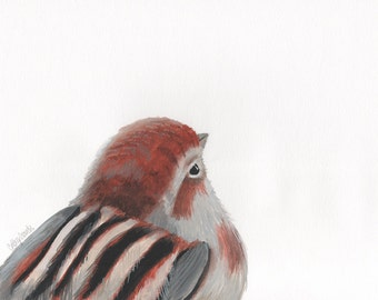 Sparrow Bird Print - Bird Printable Art Cute Fat Bird Reproduction Giclee Wall Art Top Selling Print