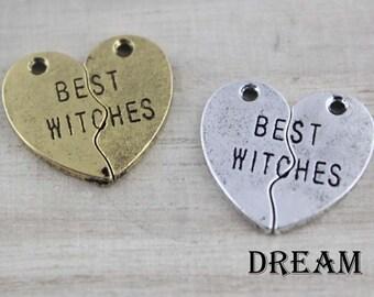 Set BEST WITCHES Broken Hearts Split Hearts Jigsaw Puzzle Piece