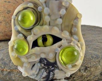 GREEN EYE glass sculpture  lampwork glass bead, whimisical lampwork focal bead, Izzybeads SRA