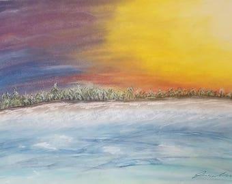 "Sunshine Winter - 11"" by 17"" Original Oil Pastel Landscape"
