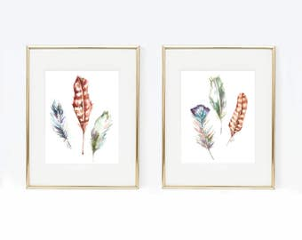 Duo Watercolor Feather Prints, two prints included